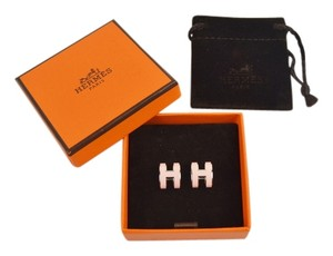 Herms HERMES Pop H Loop Pierced Earrings Light Pink Palladium Silver NEW in Box