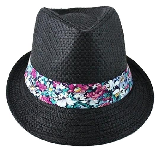 Other Black Floral Accent Summer Hat Fedora