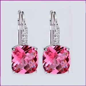 Other Pink Dangle Earrings Cubic Zircon Crystal Dangle 18k Silver Plated Dangle Earrings Bridesmaid Gift Weddings Jewelry