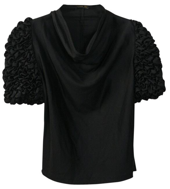 Alexander McQueen Ruffle Sleeves Cowl Neck Wool Top Black