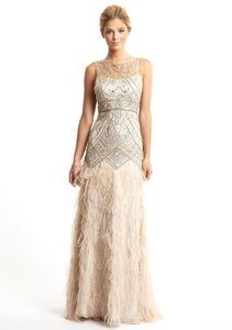 Sue Wong Champagne and Silver Polyester Nylon Gatsby Style 1920's Feather Gown Vintage Wedding Dress Size 2 (XS)