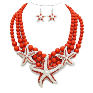 Orange Coral Sealife Starfish Pearl Accent Necklace And Earring