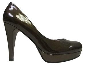 Sacha London Julie Patent Leather Platform Heel Brown Pumps