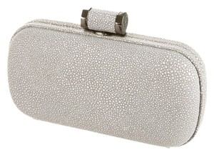 Halston Heritage And White Suede Gunmetal Chain Light Grey Silver Clutch