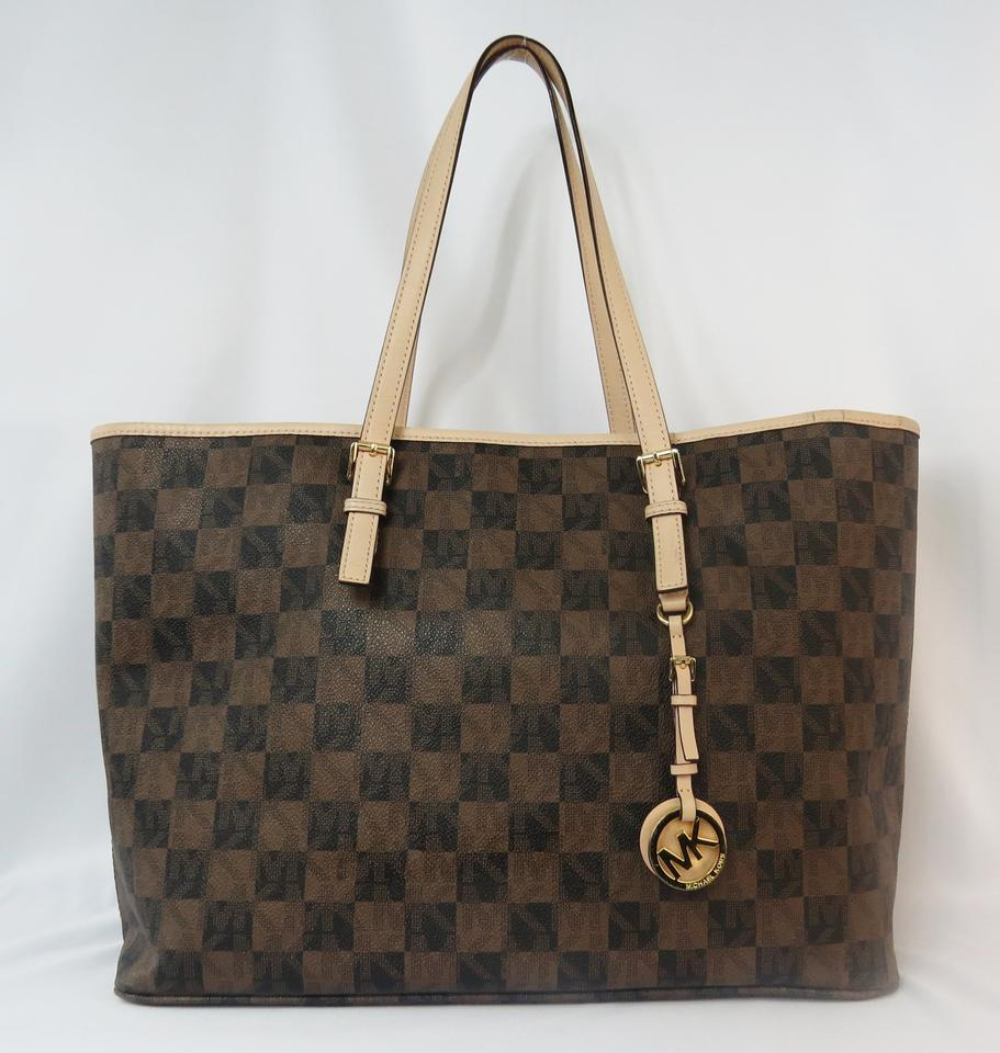f2af4317a5329c Michael Kors Jet Set Medium Checkerboard Brown Pvc with Leather Trim Tote