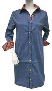 Tracy Negoshian short dress Multi-Color Diana Shirt Royal Blue Orange Pinstripe Cotton Blend on Tradesy