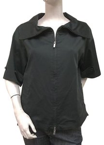 BCBGMAXAZRIA Bcbg Max Azria Short Sleeve Wide Collar Zip Up B390swr Black Jacket