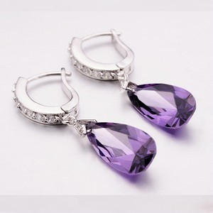 Purple Lilac Lavender Dangle Cubic Zircon Crystal Dangle 18k Silver Plated Dangle Bridesmaid Gift Earrings