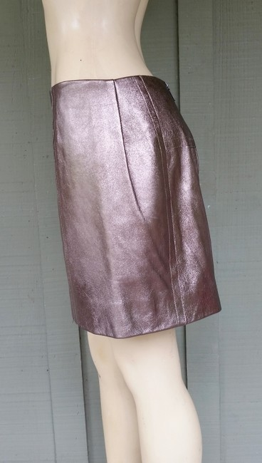 Nicole Miller Leather Metallic Mini Exposed Zipper Mini Skirt Bronze