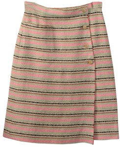 Chanel Wool Wood Butttons Skirt multicolored