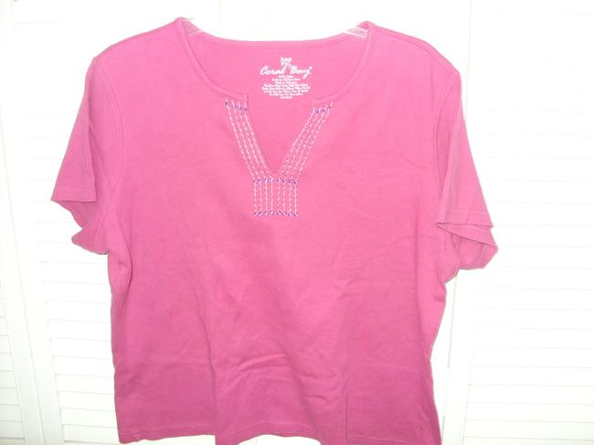 Coral Bay Pxl T Shirt HOT PINK EMBELLISHED WITH STITCHING AT NECK