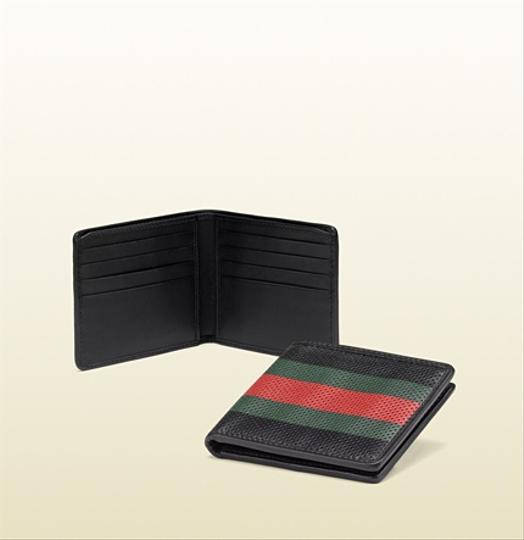 Gucci Gucci Perforated Leather Web Bi-fold Wallet
