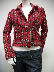 Sweet Rain Sweet Rain Tweed Long Sleeve Blazer Red Jacket 55752