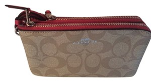 Coach Double Zipper Compartments Slip Pockets Wristlet in Khaki/Strawberry