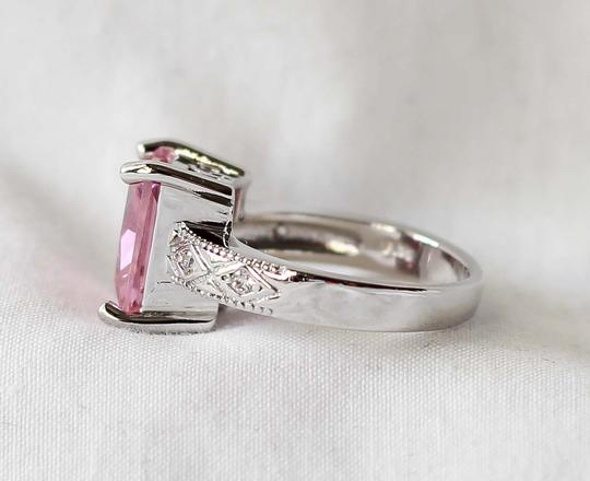 Sterling Silver 925 Pink Crystal Engagement Ring Sterling Silver 925 Pink Crystal Engagement Ring