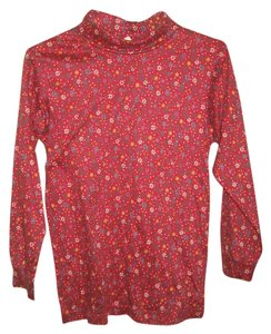 Hanna Andersson Turtleneck Floral T Shirt red