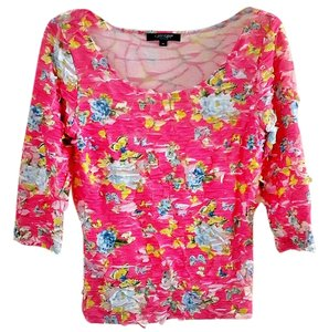 Karen Kane Butterflies Stretchy Bright Top pink