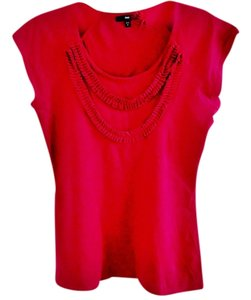 Gap Ruffle Embellished Cotton Top raspberry