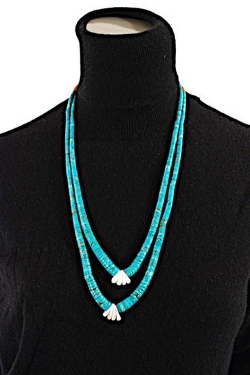 Indian Fetish Indian SUITE of 3 NECKLACES-VINTAGE-Fetish-Turquoise, Coral, Mother of Pearl