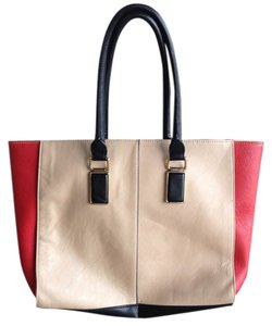 ALDO Faux Leather Handles Heavy Sturdy Tote in Tan Red