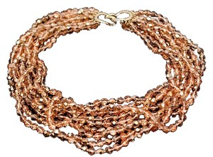 Other VINTAGE CINER 9 Strands of Bronze Crystals Choker Necklace