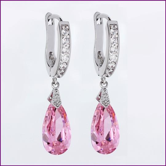 Pink Dangle Cubic Zircon Crystal Dangle 18k Silver Plated Dangle Bridesmaid Earrings