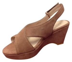 Sacha London Kid Suede Kassie Wedge In Box Platform Brown Pumps