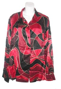 Marina Rinaldi Pure Silk Plus Size Top Red Multi-Color