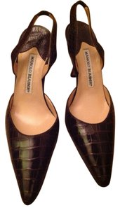 Manolo Blahnik Made In Italy Leather Brown Pumps
