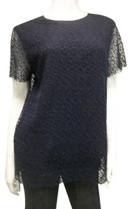 Raoul Navy Blue Lace Sheer Top Blues
