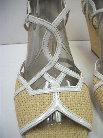 Prada Wicker Weft Ankle Strap Wedge White Patent Leather Trim Multi-Color Platforms