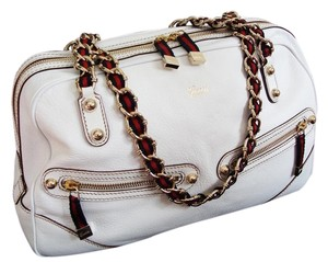 Gucci Capri Leather Boston Satchel in White