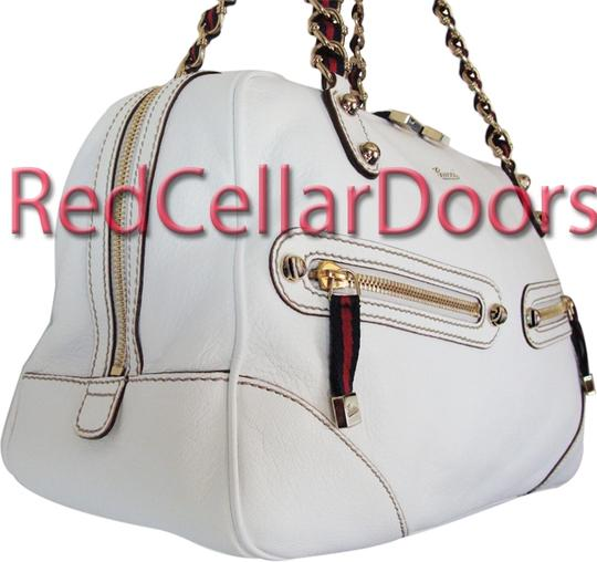 Gucci Capri Leather Boston Tote Satchel in White