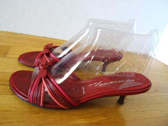 Sigerson Morrison Classic Strappy Bow Kitten Heel Red Sandals