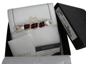 Gucci New Gucci White Capri Goat's Leather Wallet with Box