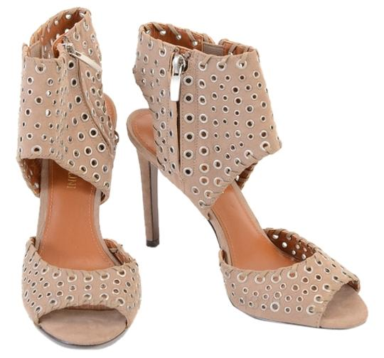 Enzo Angiolini Perforated Taupe Pumps