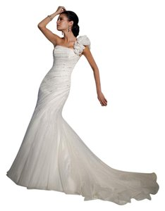 Sophia Tolli Ivory Organza 21159 Mermaid Fitted Corset Back Dress Size 8 (M)