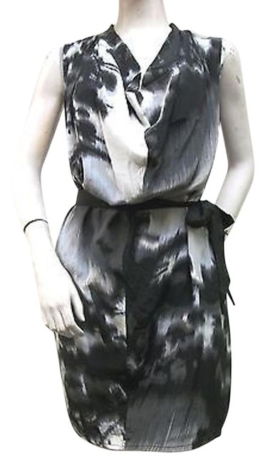 Jaloux Black Grey Belted Shift Draped Neck Silk J52952w2612 Dress