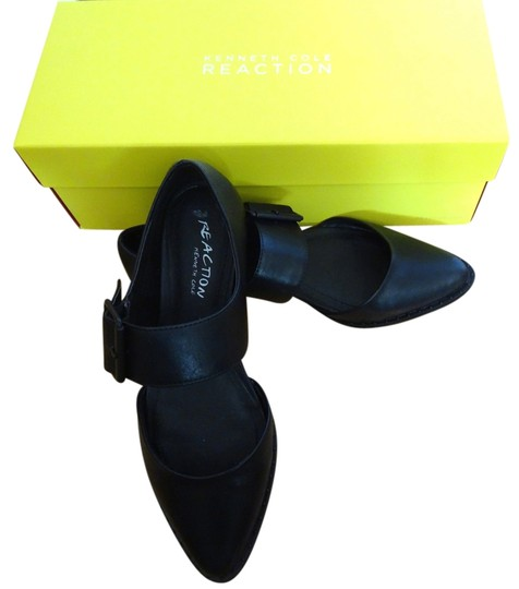Kenneth Cole Reaction Pointy-toe Mary Jane Buckle Black Flats