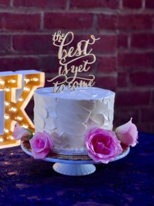 "Gold ""The Best Is Yet To Come"" Cake Topper"