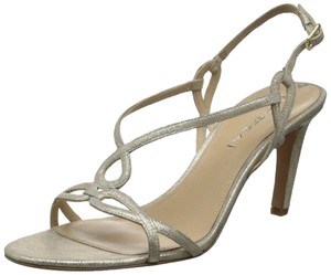 Via Spiga Brand New Sparkle Straps Platinum Sandals
