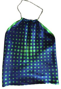 Candice Held Vintage Silk Halter Top Blue & Green