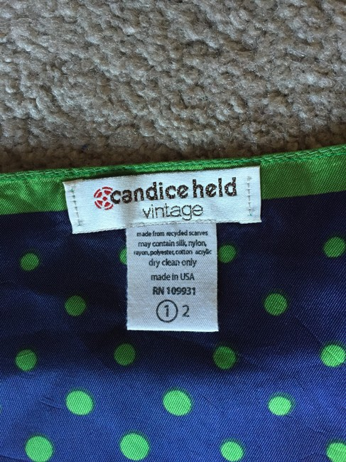 Candice Held Vintage Silk Halter With Chain Top Blue & Green