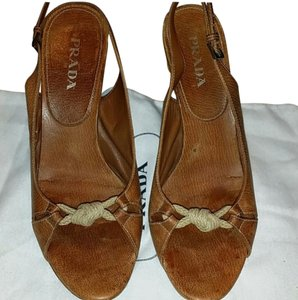 Prada brown suede Wedges