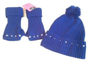 Betsey Johnson New Betsey Johnson stud beanie & fingerless glove set blue
