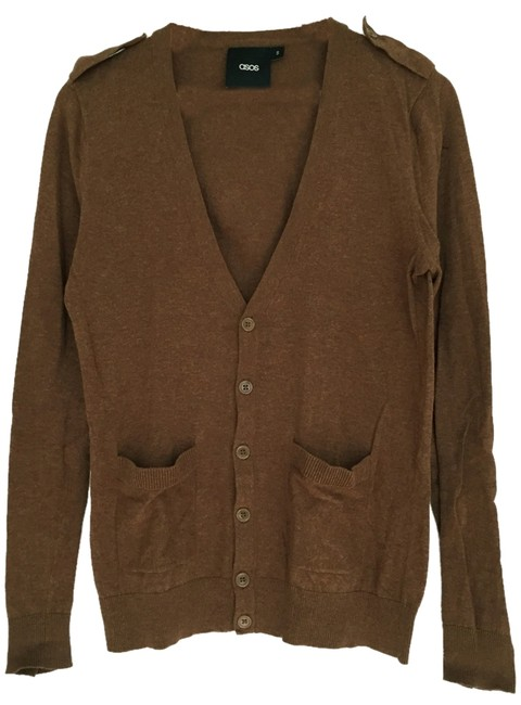 Item - Brown V Neck Button Down Cotton Knit Sweater S/M Military Look with Epaulet Cardigan Size 6 (S)