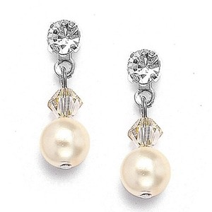 Mariell Classic Pearl & Crystal Drop Bridal Or Bridesmaids Earrings 234e