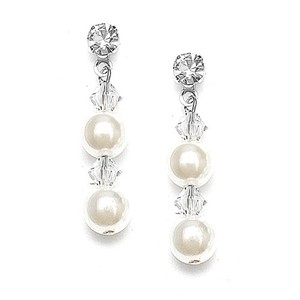 Mariell Pearl & Crystal Dangle Wedding Earrings 235e
