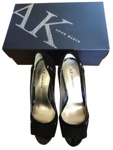 Anne Klein Peep Toe Studded Suede Black Pumps