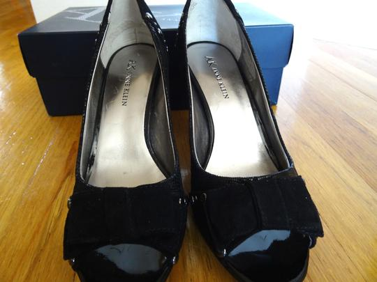 Anne Klein Peep Toe Studded Suede Patent Leather Bow Black Pumps